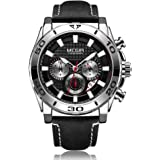 Anself MEGIR 2094 Men Watch Quartz Sport Simple Wristwatch Leather Strap 3ATM Waterproof Calendar Chronograph Luminous Hands Fashion Casual Male Multifunctional Watches (Silver)