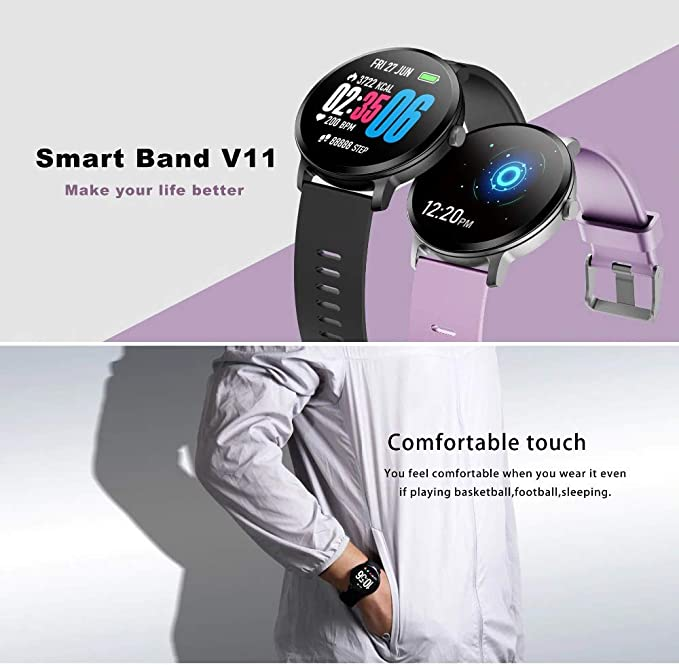 Amazon.com: LEMFO V11 Smartwatch for a Men (Light Purple ...