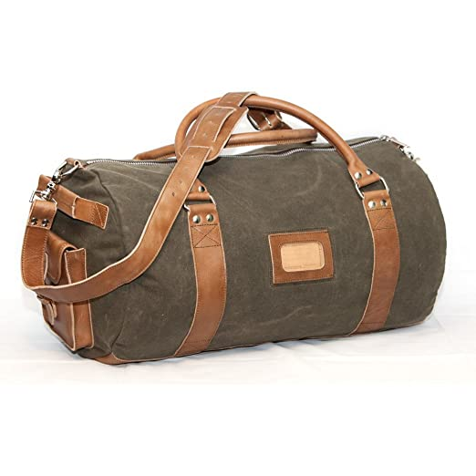 f010605399e9 Amazon.com | Elkton Large Duffle Gear Bag - Waxed Canvas and Leather ...