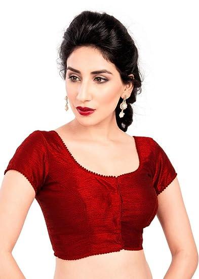 Bollywood Blouses Women S Casual Saree Blouse Maroon At Amazon
