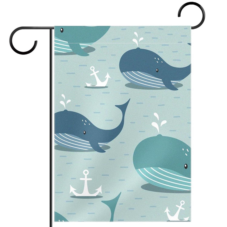 Whales Sea Anchors Garden Flag, Double Sided Garden Outdoor Yard Flags for Summer Decor 28x40 Inch