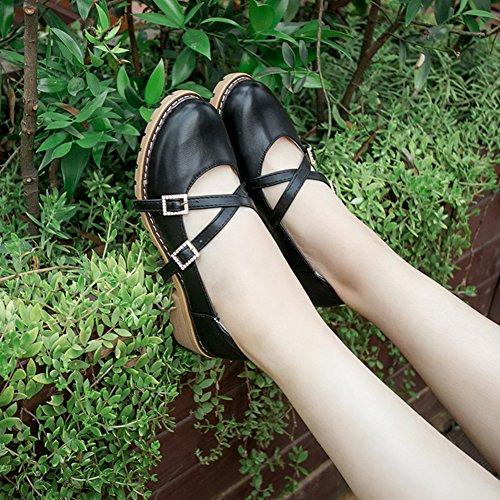 Thick Cross Black Toe Shoes Shoes Decor Rhinestones Buckle Sweet Oxford Heel Btrada Round Princess Women Hx4wIwYqR