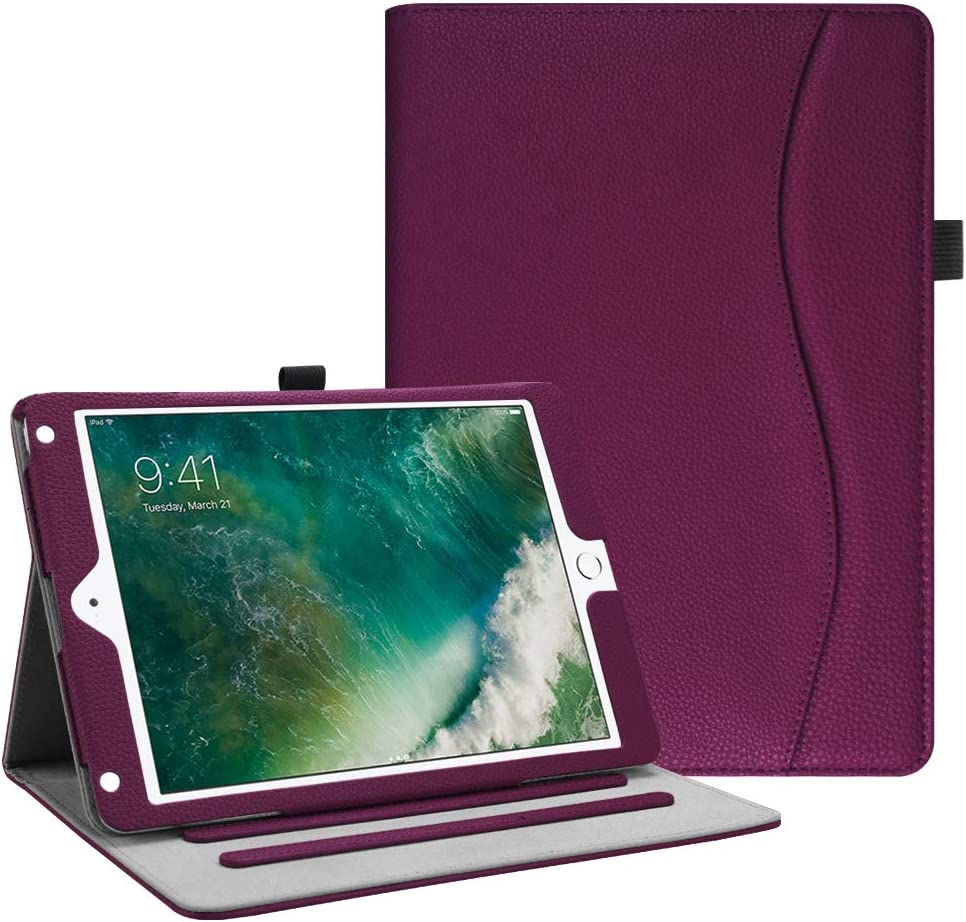 Fintie Case for iPad 9.7 2018 2017 / iPad Air 2 / iPad Air - [Corner Protection] Multi-Angle Viewing Folio Cover w/Pocket, Auto Wake/Sleep for iPad 6th / 5th Gen, iPad Air 1/2, Purple