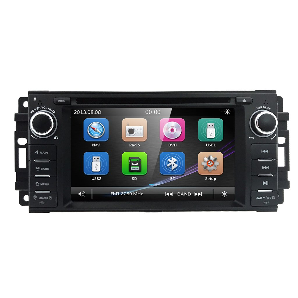 "Hizpo Car Stereo GPS DVD Player for Dodge Ram Challenger Jeep Wrangler JK Head Unit Single Din 6.2"" Touch Screen Indash Radio Receiver with Navigation Bluetooth"