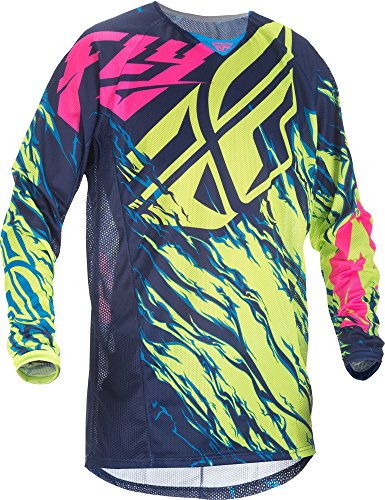 (Fly Racing Unisex-Adult Kinetic Mesh Jersey (Hi-Vis/Blue/Pink, Youth X-Large))
