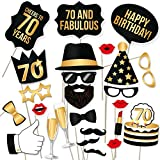 70th Birthday Props by PartyGraphix. Perfect for 70th Birthday Photo Booth. Durable. 34 Black & Gold Pieces (Gold and Black, 34)