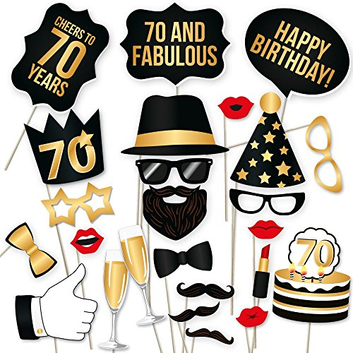 70th Birthday Props by PartyGraphix, Perfect for 70th Birthday Photo Booth, Durable (Gold and Black, 34 Pieces)