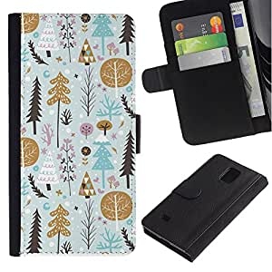 LASTONE PHONE CASE / Lujo Billetera de Cuero Caso del tirón Titular de la tarjeta Flip Carcasa Funda para Samsung Galaxy Note 4 SM-N910 / Gold Tree Gift Paper Winter Holidays