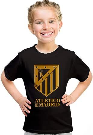 خربشات تيشيرت بناتي لنادي أتلتيكو مدريد ، مقاس 32 EU ، اسود