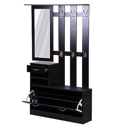 Homcom Ensemble de Meubles d\'entrée Design Contemporain : Meuble  Chaussures, Miroir et Panneau Porte-Manteau Panneaux de Particules Noir