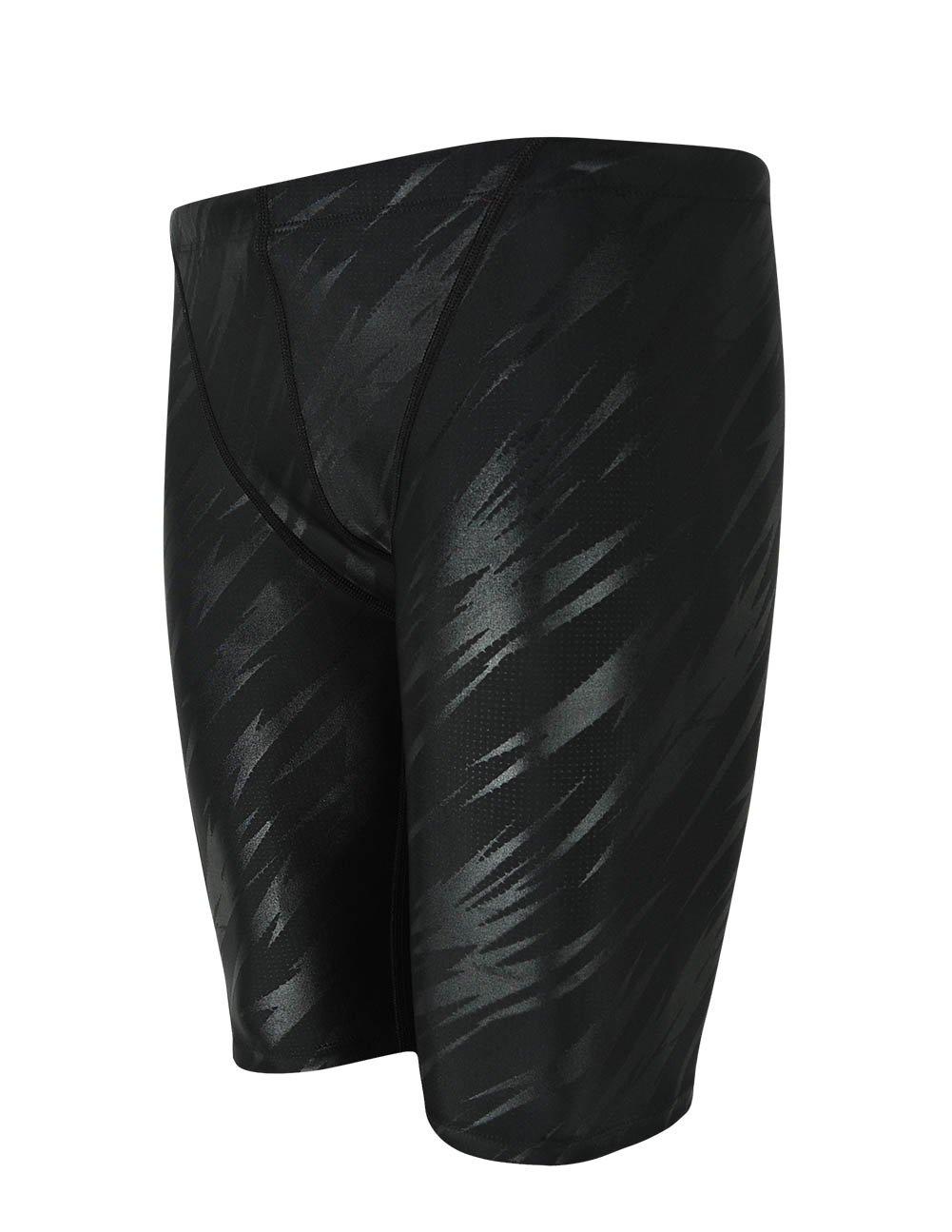 Srnfean Men`s Swimming Jammers Endurance+ Quick Dry Swimsuit Black Stripe Medium by Srnfean