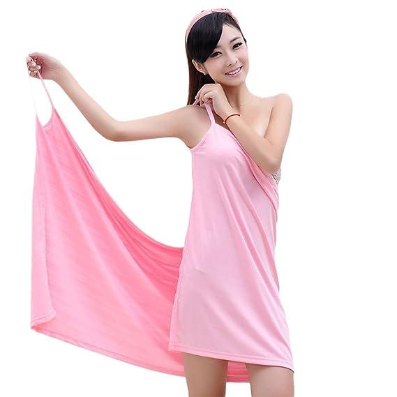 Falda de baño Toalla de baño Toalla de baño mágica Toalla de baño portátil Pijamas multifuncionales para el gimnasio en casa termal o natación rosa: ...