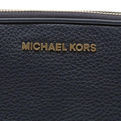 Michael Kors Bedford Cuero Negro Doble Cremallera Cruzada Cuerpo De La Bolsa azul oscuro