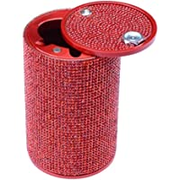 Aluminum Red Car Ashtray Crystal Diamond Cigarette Smokeless Cup Holder Fireproof Stainless Lid for Car Women Home…