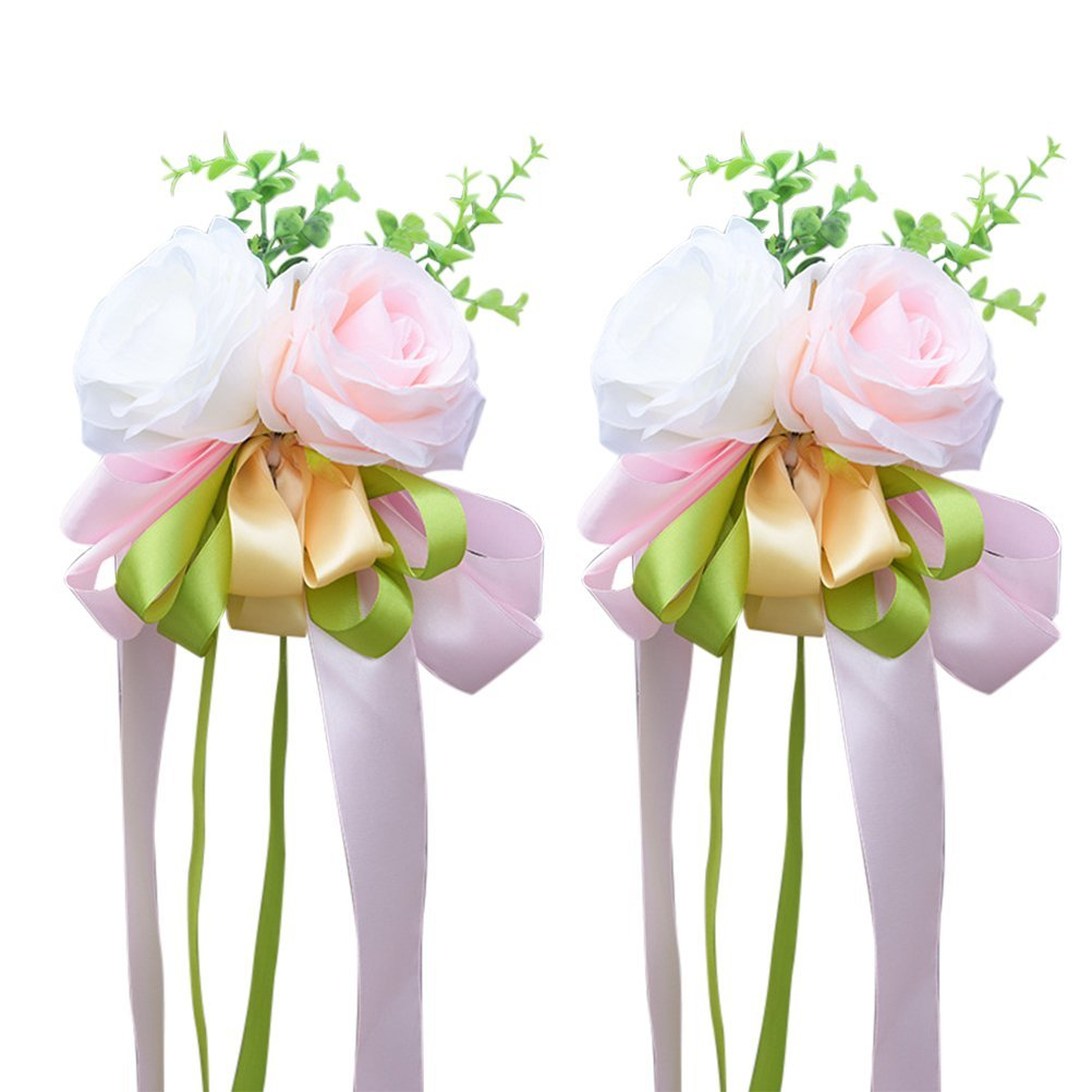 VORCOOL Artificial Flower,Artificial Rose Flower Wedding Car Decoration Flower Handle Mirror Door Decor Wedding