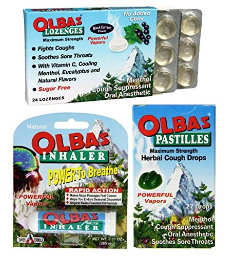 Olbas Lozenges - Olbas Cold and Allergy Symptom Relief Bundle: (1) Olbas Black Currant Maximum Strength Lozenges (24 Count), (1) Olbas Inhaler, and (1) Olbas Maximum Strength Pastilles Cough Drops (27 Count)
