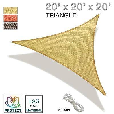 REPUBLICOOL 20'x20'x20' Triangle Sand Sun Shade Sail Canopy UV Block Awning for Outdoor Patio Garden Backyard : Garden & Outdoor