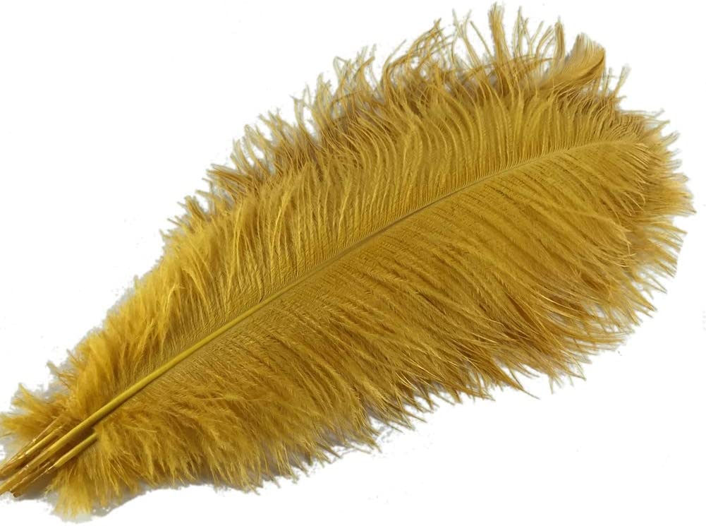 Sowder 5pcs Ostrich Feathers 16-18inch(40-45cm) Home Wedding Decoration(Golden)