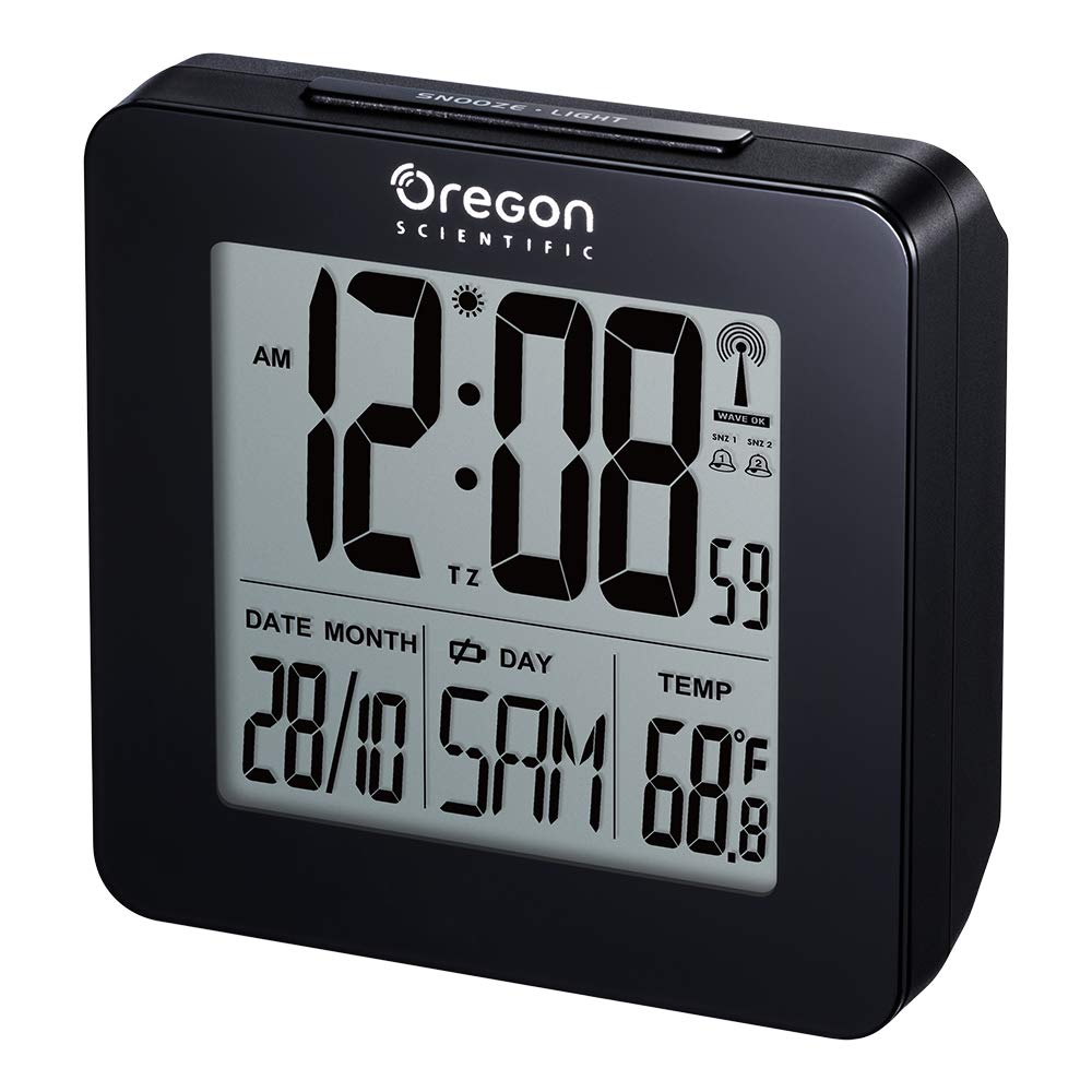 Oregon Scientific RM511 - Reloj despertador digital con repetición snooze, fecha y temperatura interior, color negro