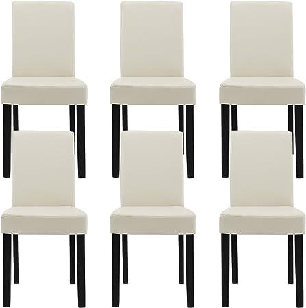 [en.casa] 6 sedie imbottite (crema avorio) (Ottima qualità) con piedi in legno massellorivestimento in similpelleelegante