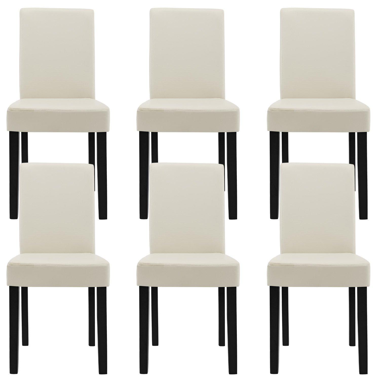 en.casa] Esstisch Eiche antik mit 6 Stühlen creme Kunstleder ...