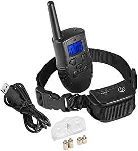 Dog Training Collar, Digoo-PPT1 Rechargeable and Waterproof 330yd Remote Dog Shock Collar with Beep, Vibration and Stimulation Electronic Collar, Fit for All Size Dogs (10Lbs-150Lbs) 3 Collar Paired