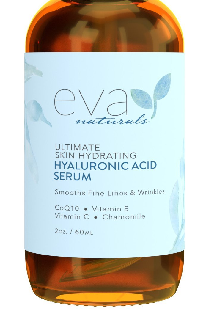 Hyaluronic Acid Serum with Vitamin C (2x Bottle Size) – Skin Brightening & Hydrating Facial Moisturizer – Anti Aging Serum, Age Spots, Dark Spot Corrector for Face & Neck by Eva Naturals, 2 oz.