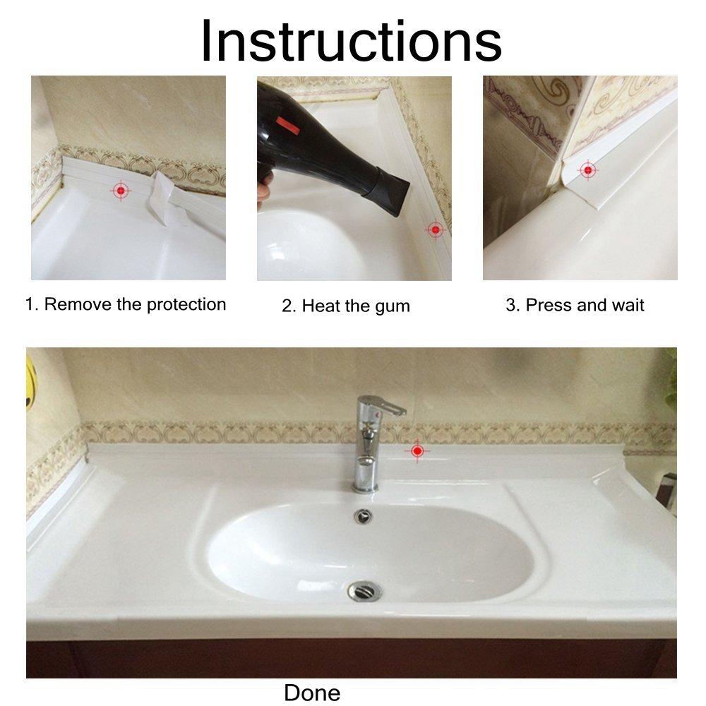 Loobani PE Bathtub Counter Caulk Strip Seal For Bath Tub Kitchen, Shower Toilet Wall Sealant, Flexible Peel and Stick Caulking Tape, 1-1/2'' Width X 11 Feets Long X 2 Packs (White)