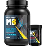 MuscleBlaze Raw Whey 1kg, Unflavoured with Creatine Monohydrate 100g, 2 Piece(s)/Pack Unflavoured