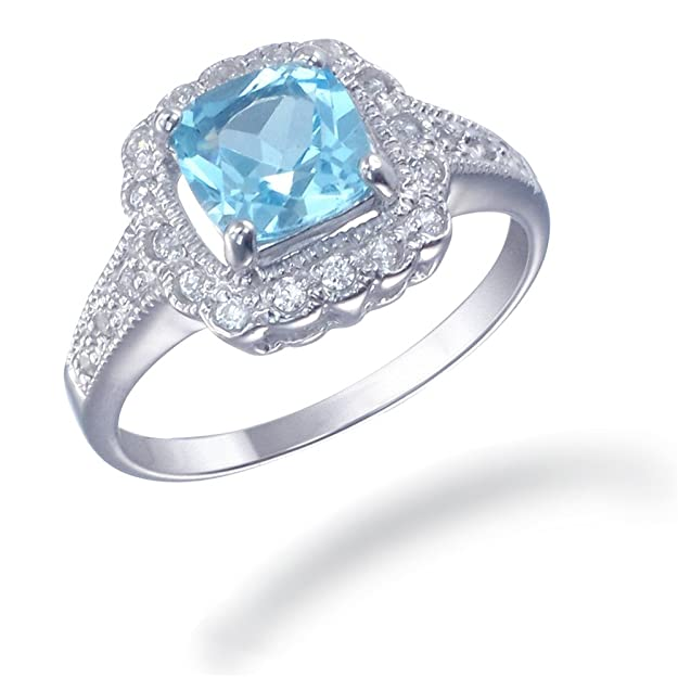 Sterling Silver Blue Topaz Ring (1.40 CT) Women's Rings at amazon