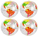 12- Clear Inflatable Earth Globe Beach Balls - 14 inch
