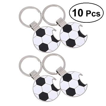 STOBOK Llaveros del balón de fútbol de la Llave del abrebotellas del fútbol para la Taza de Mundo 10pcs