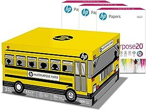 HP Printer Paper 8.5x11 MultiPurpose 20 lb School Bus 3 Ream Case 1500 Sheets 96 Bright Made in USA FSC Certified Copy Paper HP Compatible 112030C
