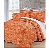4 Piece Burnt Orange Nectarine Queen Bedspread Set, Damask Pattern Themed Bedding Flower Bohemian Boho Shabby Chic French Country Vintage Pretty Trendy Elegant Antique, Microfiber, Polyester