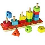 ACOOLTOY Contando Impilatore Geometrico in Legno Accatastamento Giocattolo per i Bambini 18 Mesi e Oltre