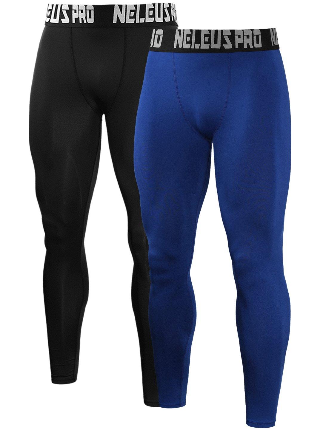 Neleus Men's 2 Pack Compression Tights Sport Running Leggings Pants,6019,Black,Blue,US S,EU M