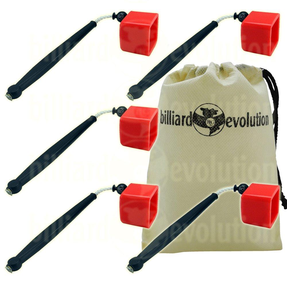 Set of 5 Red Pocket Chalk Holders with Billiard Evolution Drawstring Bag