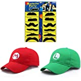 JOYINGLE Fashion Super Mario Bros Hat Baseball Cap Unisex Costume Cosplay Halloween Hat for Adult Kids (Red and Green…