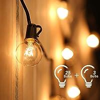 Guirnalda Luces Exterior,Tomshine 7.62M Cadena de Luz,G40 Guirnaldas Luminosas de Exterior con 25 Blanco Cálido…