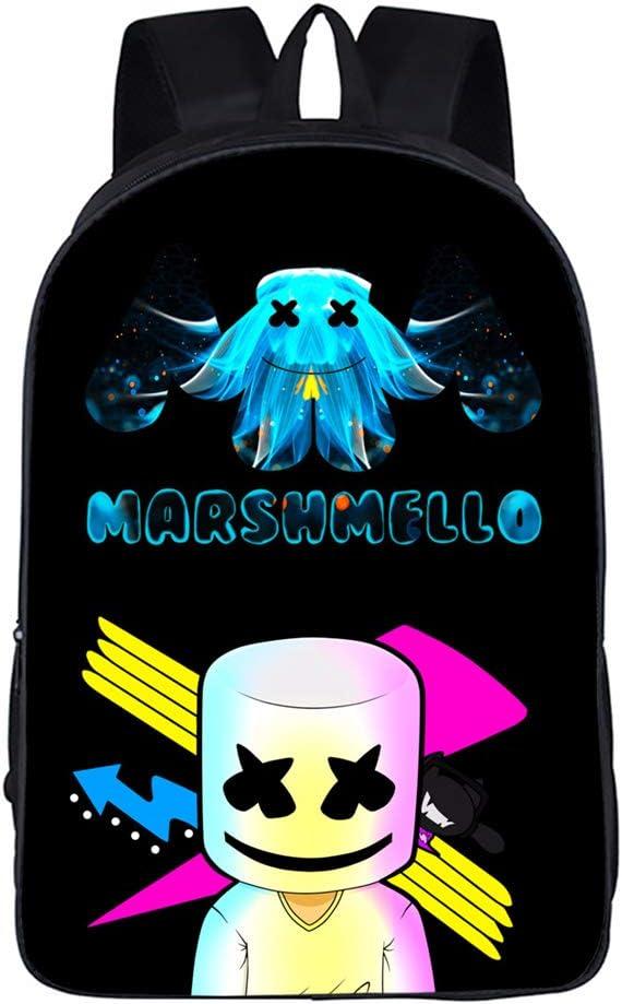 USAMYNA Gar/çons Sac /À Dos pour /Étudiants Marshmello Adolescents Bookbag Lumi/ère Color/é Ordinateur Portable Sac /À Dos De Mode Cartable 16 Pouces pour Enfants Blanc