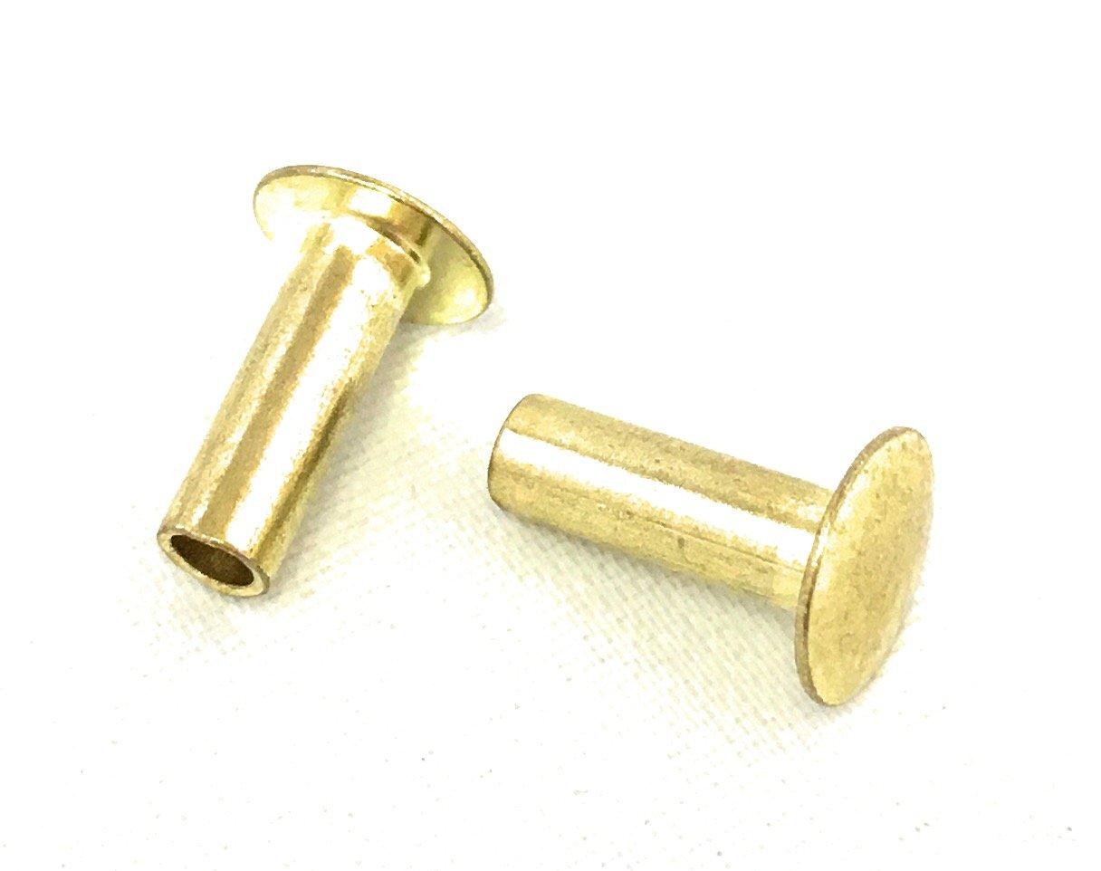 100 Pack Brass SEMI-Tubular Rivets 6//16 inch