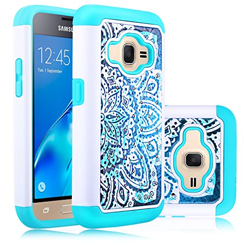 Galaxy Luna Case, Express 3 Case, J1 2016 Case,Elegant Choise Slim Dual Layer Armor Studded Rhinestone Bling Phone Case Cover with Flower Pattern for Samsung Galaxy Luna /J1 2016 (White/Turquoise)