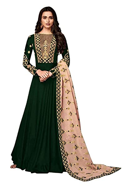 37cc2bd05ca Viha Heavy Faux Georgette Women Embroidered Semi-stitched Anarkali Salwar  Suit In Green Colour  Amazon.in  Clothing   Accessories