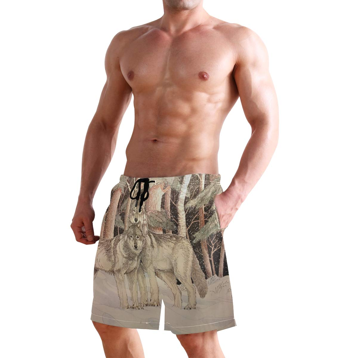 DEYYA Mens Timber Wolves Summer Beach Shorts Pants Swim Trunks Board Short for Men