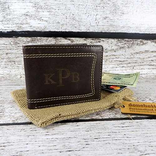 Mens Leather Wallet Monogrammed - Wallets for Men - Groomsmen - Husband - Father - Grandfather- Leather (666)