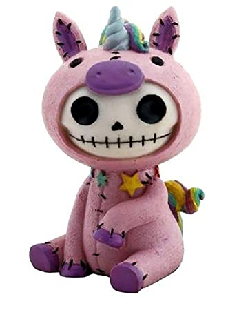 Custom Unique 4 x 2 Inch 1 Single, Home Garden Standing Figurine Decoration Made of Grade A Resin w Fantasy Mythical Cute Skeleton Unicorn Style Black, Blue, Purple, White