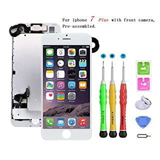 Screen Replacement Compatible with iPhone 7 Plus Full Assembly - LCD 3D Touch Display Digitizer with Sensors and Front Camera, Fit Compatible with iPhone 7 Plus-White