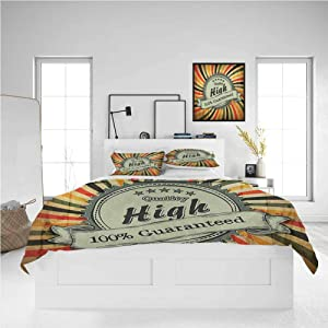 Vintage Rainbow California King Size Sheet Set-3 Piece Set, Bedding Set Bedding Set, Easy Care Bedding Cover