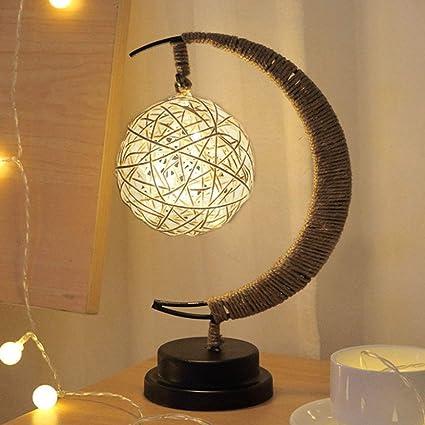 Lámpara LED para mesita de noche hecha a mano, cuerda de cáñamo, hierro forjado, luz nocturna para escritorio, luz nocturna para el hogar, decoración