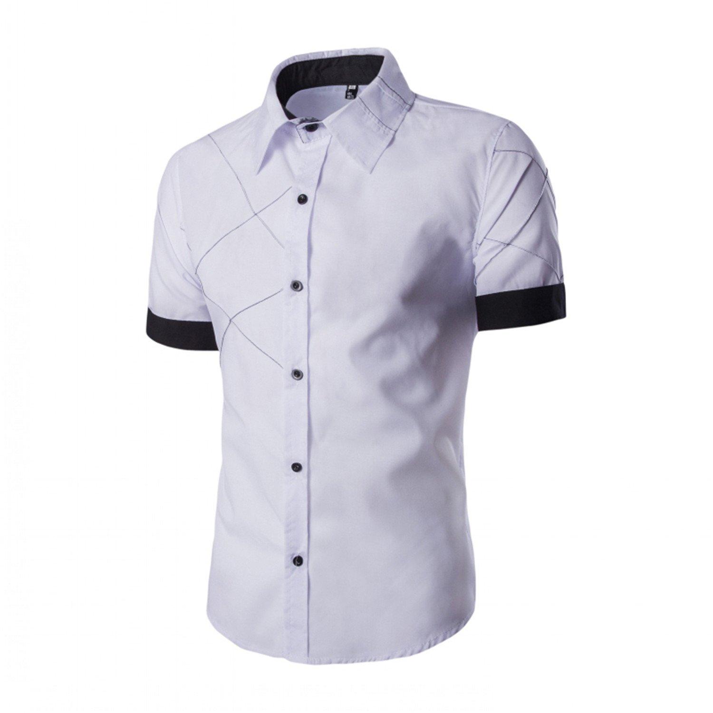 Mofgr Men Short Sleeve Hawaiian Casual Fashion Slim Fit Black Dress Shirts Large 3XL
